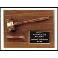PG2786 Walnut Gavel Plaque